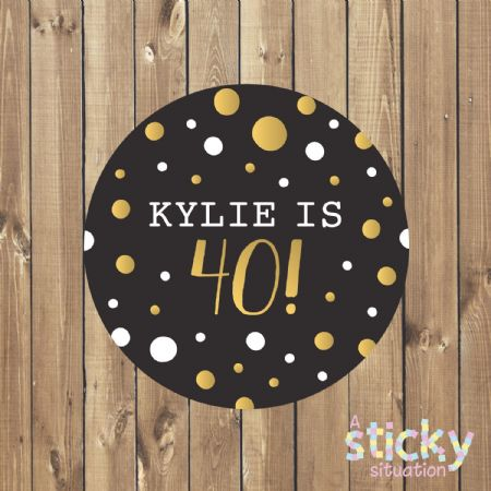 Personalised Birthday Party Stickers - Black and Gold Design
